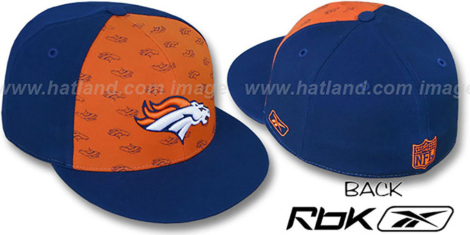 Broncos 'TEAM-PRINT PINWHEEL' Orange-Navy Fitted Hat by Reebok : pictured without stickers that these products are shipped with