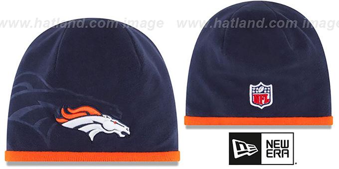 a9ced6d94 Broncos  TECH-KNIT STADIUM  Navy-Orange Knit Beanie Hat by New Era