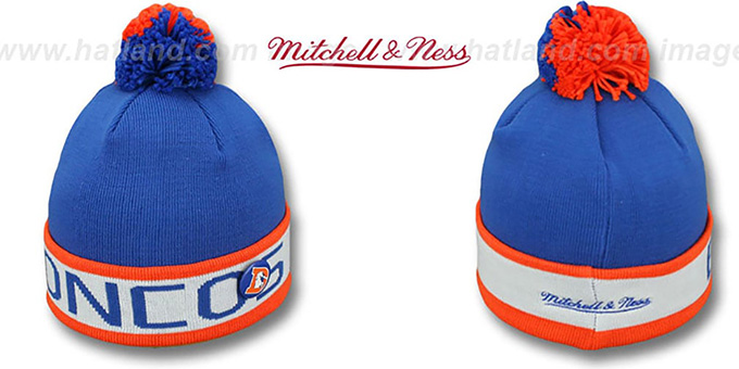 Broncos 'THE-BUTTON' Knit Beanie Hat by Michell & Ness : pictured without stickers that these products are shipped with