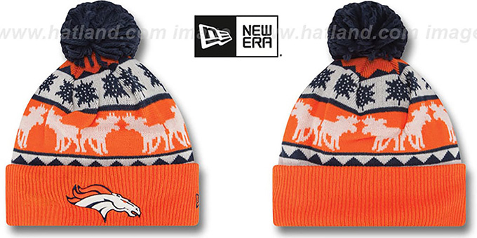 Broncos 'THE-MOOSER' Knit Beanie Hat by New Era : pictured without stickers that these products are shipped with