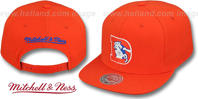 Broncos 'THROWBACK-BASIC SNAPBACK' Orange Hat by Mitchell & Ness : pictured without stickers that these products are shipped with