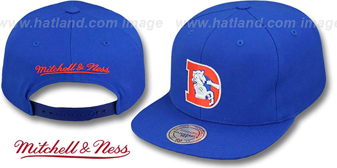 Broncos 'THROWBACK-BASIC SNAPBACK' Royal Hat by Mitchell & Ness : pictured without stickers that these products are shipped with