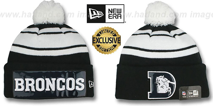 Broncos THROWBACK 'BIG-SCREEN' Black-White Knit Beanie Hat by New Era : pictured without stickers that these products are shipped with