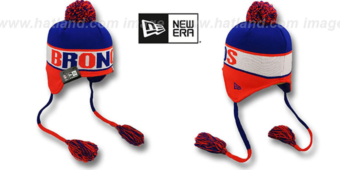 Broncos 'THROWBACK CRAYON BOX' Knit Beanie Hat by New Era : pictured without stickers that these products are shipped with