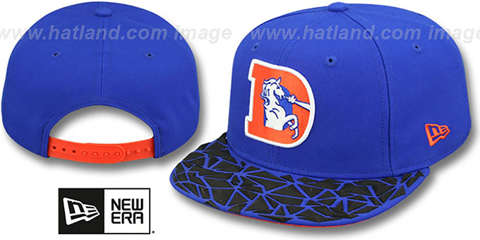 Broncos THROWBACK 'RUBBER MATTE SNAPBACK' Royal Hat by New Era : pictured without stickers that these products are shipped with