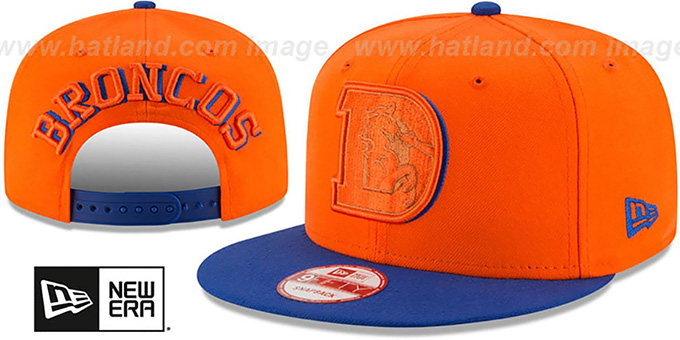 Broncos 'THROWBACK SHADOW SLICE SNAPBACK' Orange-Royal Hat by New Era : pictured without stickers that these products are shipped with