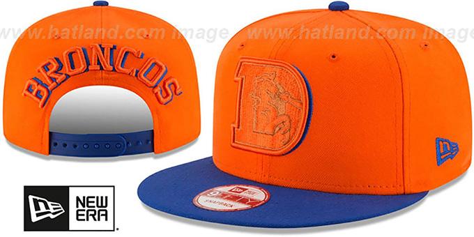 8b03e5ee008 Broncos  THROWBACK SHADOW SLICE SNAPBACK  Orange-Royal Hat by New Era