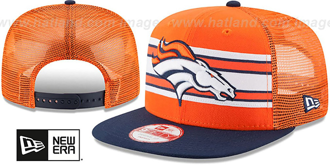 Broncos 'THROWBACK-STRIPE SNAPBACK' Orange-Navy Hat by New Era : pictured without stickers that these products are shipped with