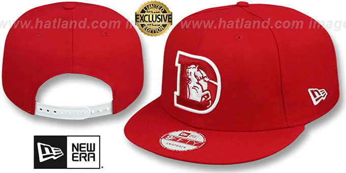Broncos 'THROWBACK TEAM-BASIC SNAPBACK' Red-White Hat by New Era : pictured without stickers that these products are shipped with