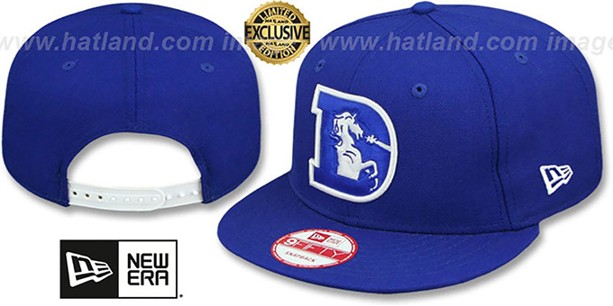 Broncos 'THROWBACK TEAM-BASIC SNAPBACK' Royal-White Hat by New Era : pictured without stickers that these products are shipped with