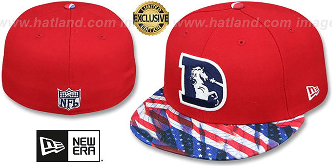 Broncos 'THROWBACK USA WAVING-FLAG' Red Fitted Hat by New Era : pictured without stickers that these products are shipped with