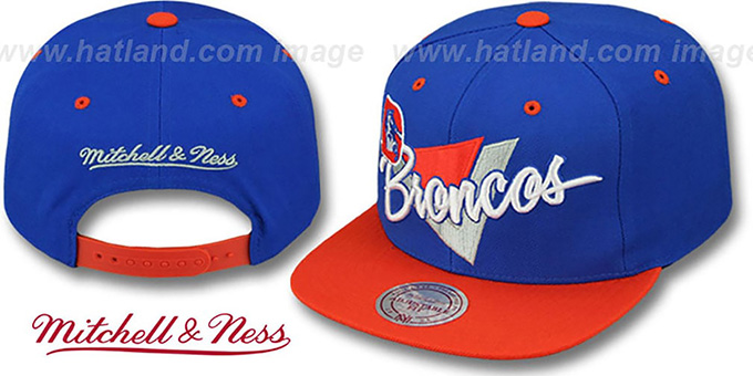 Broncos 'TRIANGLE-SCRIPT SNAPBACK' Royal-Orange Hat by Mitchell and Ness : pictured without stickers that these products are shipped with