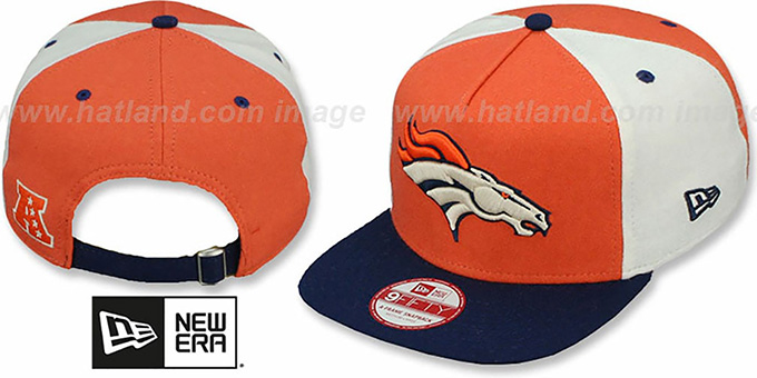 Broncos 'TRIPLE MELTON STRAPBACK' Orange-White-Navy Hat by New Era : pictured without stickers that these products are shipped with