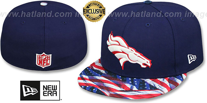 Broncos 'USA WAVING-FLAG' Navy Fitted Hat by New Era : pictured without stickers that these products are shipped with