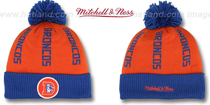 Broncos 'VERTICAL WORD BEANIE' Orange-Royal by Mitchell and Ness : pictured without stickers that these products are shipped with