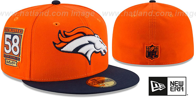 Broncos 'VON MILLER MVP' Orange-Navy Fitted Hat by New Era : pictured without stickers that these products are shipped with