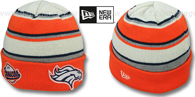 Broncos 'WINTER TRADITION' Knit Beanie Hat by New Era : pictured without stickers that these products are shipped with