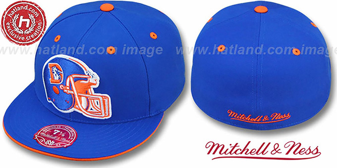 Broncos 'XL-HELMET' Royal Fitted Hat by Mitchell & Ness : pictured without stickers that these products are shipped with