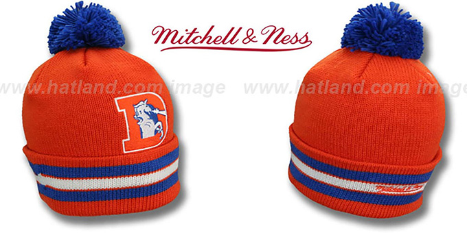 Broncos 'XL-LOGO BEANIE' Orange by Mitchell and Ness : pictured without stickers that these products are shipped with