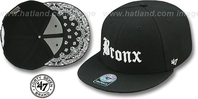 Bronx 'GOTHIC PAISLEY SNAPBACK' Adjustable Hat by Twins 47 Brand : pictured without stickers that these products are shipped with