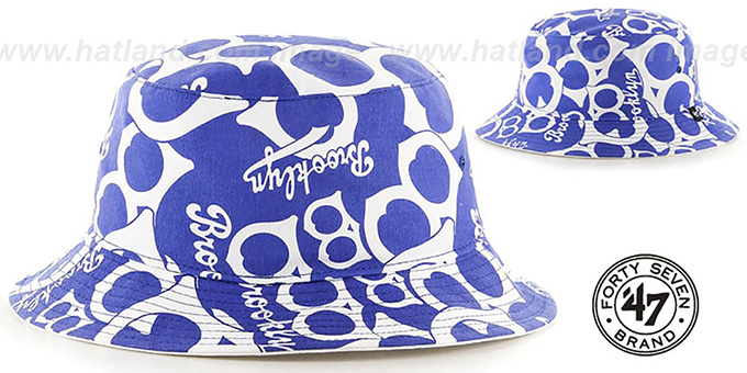 Brooklyn Dodgers 'COOP BRAVADO BUCKET' Hat by Twins 47 Brand : pictured without stickers that these products are shipped with