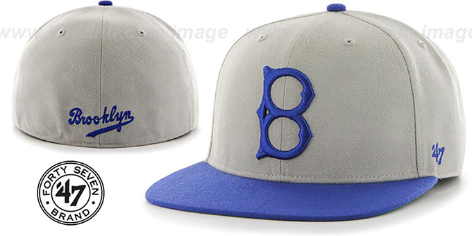 Brooklyn Dodgers 'COOP HOLE-SHOT' Grey-Royal Fitted Hat by Twins 47 Brand : pictured without stickers that these products are shipped with