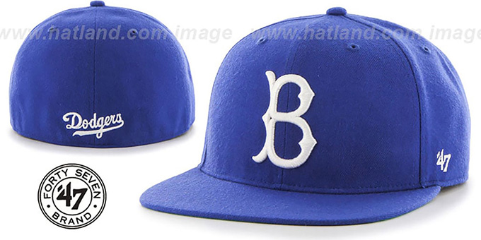 Brooklyn Dodgers 'COOP HOLE-SHOT' Royal Fitted Hat by Twins 47 Brand : pictured without stickers that these products are shipped with