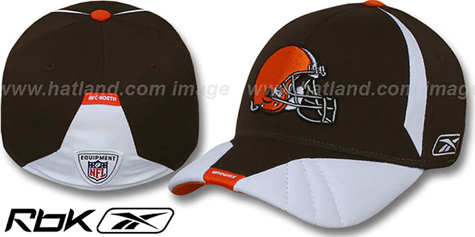 Browns '2008 SIDELINE-1 FLEX' Brown Hat by Reebok : pictured without stickers that these products are shipped with