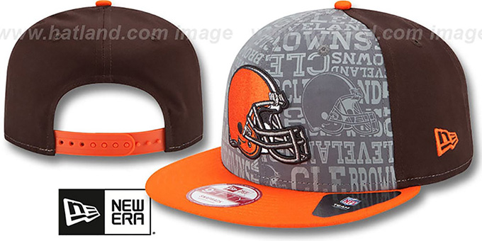 Browns '2014 NFL DRAFT SNAPBACK' Brown-Orange Hat by New Era : pictured without stickers that these products are shipped with