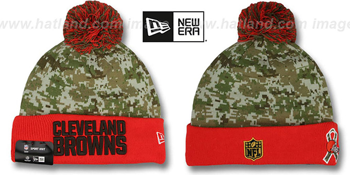 Browns '2015 SALUTE-TO-SERVICE' Knit Beanie Hat by New Era : pictured without stickers that these products are shipped with