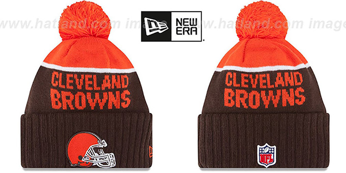 Browns '2015 STADIUM' Brown-Orange Knit Beanie Hat by New Era : pictured without stickers that these products are shipped with