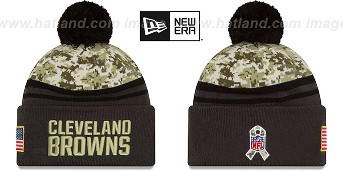 Browns '2016 SALUTE-TO-SERVICE' Knit Beanie Hat by New Era : pictured without stickers that these products are shipped with