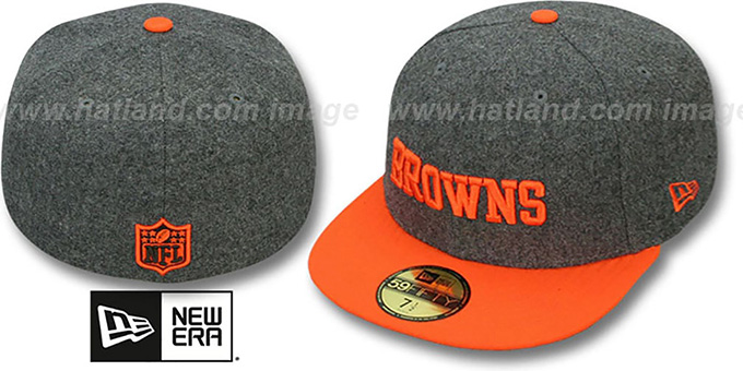 Browns '2T NFL MELTON-BASIC' Grey-Orange Fitted Hat by New Era : pictured without stickers that these products are shipped with
