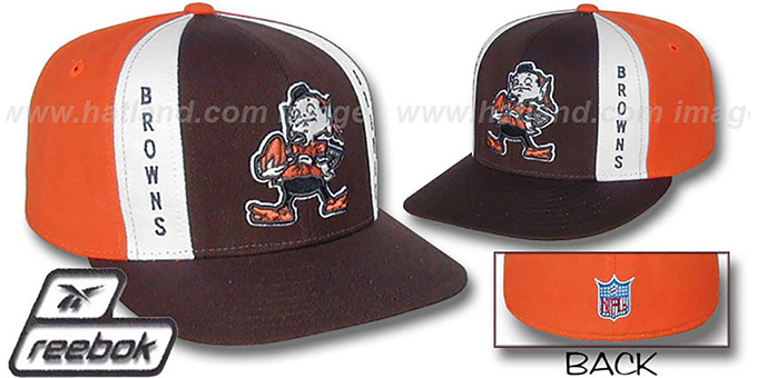 Browns 'AJD THROWBACK' Brown-Orange Fitted Hat by Reebok : pictured without stickers that these products are shipped with