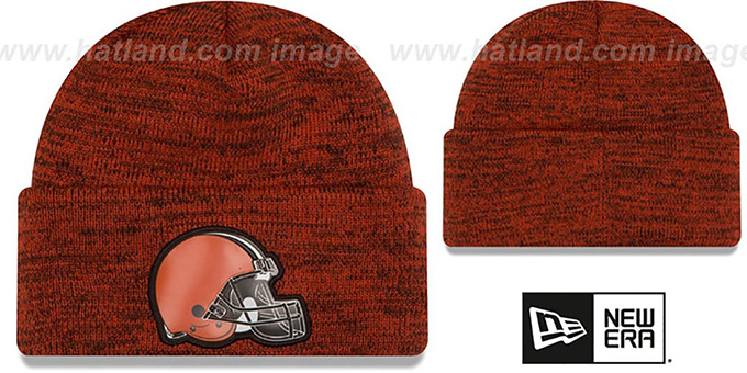 Browns 'BEVEL' Orange-Brown Knit Beanie Hat by New Era : pictured without stickers that these products are shipped with