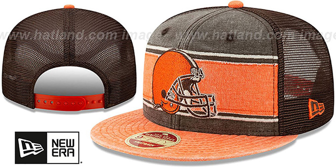 Browns 'HERITAGE-BAND TRUCKER SNAPBACK' Brown-Orange Hat by New Era
