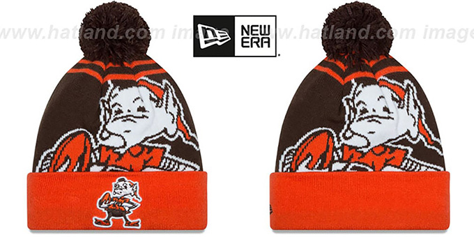 Browns 'LOGO WHIZ' Brown-Orange Knit Beanie Hat by New Era : pictured without stickers that these products are shipped with