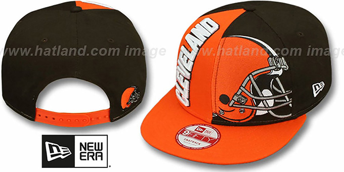 Browns 'NE-NC DOUBLE COVERAGE SNAPBACK' Hat by New Era : pictured without stickers that these products are shipped with