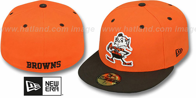 Browns 'NFL 2T-TEAM-BASIC' Orange-Brown Fitted Hat by New Era : pictured without stickers that these products are shipped with