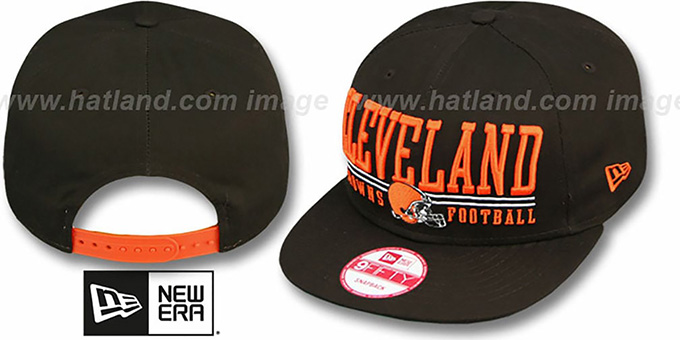 Browns 'NFL LATERAL SNAPBACK' Brown Hat by New Era : pictured without stickers that these products are shipped with