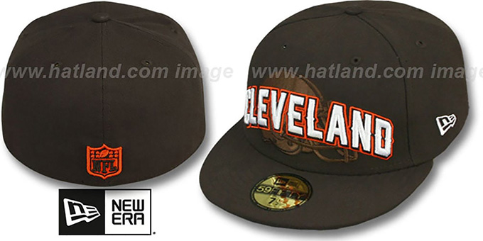 Browns 'NFL ONFIELD DRAFT' Brown Fitted Hat by New Era : pictured without stickers that these products are shipped with