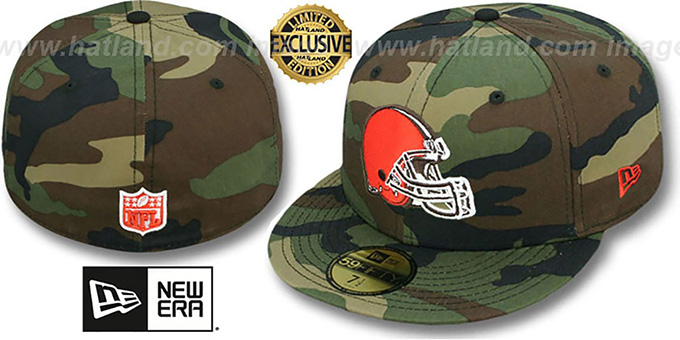 Browns 'NFL TEAM-BASIC' Army Camo Fitted Hat by New Era : pictured without stickers that these products are shipped with