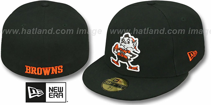 Browns 'NFL TEAM-BASIC' Black Fitted Hat by New Era : pictured without stickers that these products are shipped with