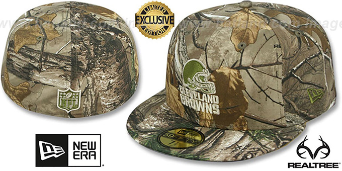 Browns 'NFL TEAM-BASIC' Realtree Camo Fitted Hat by New Era : pictured without stickers that these products are shipped with