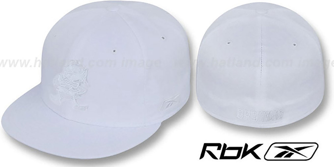 Browns 'NFL-WHITEOUT' Fitted Hat by Reebok : pictured without stickers that these products are shipped with