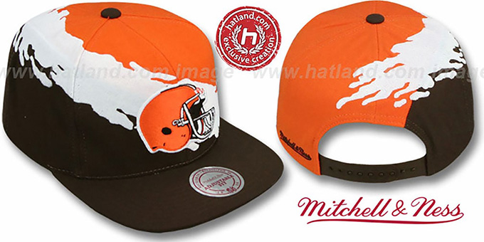 Browns 'PAINTBRUSH SNAPBACK' Orange-White-Brown Hat by Mitchell & Ness : pictured without stickers that these products are shipped with
