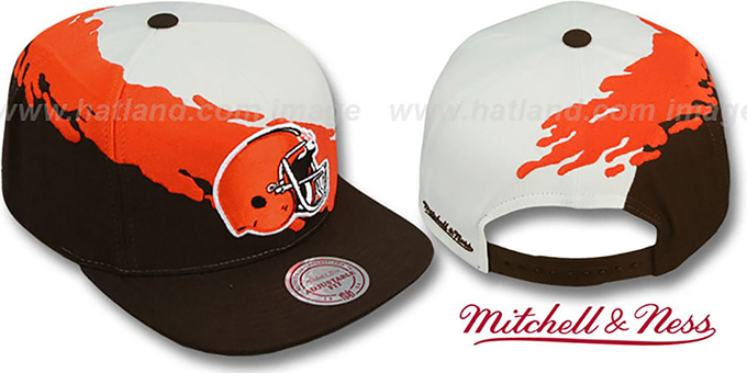 Browns 'PAINTBRUSH SNAPBACK' White-Orange-Brown Hat by Mitchell & Ness : pictured without stickers that these products are shipped with