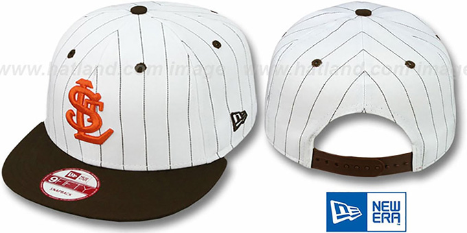 Browns 'PINSTRIPE BITD SNAPBACK' White-Brown Hat by New Era : pictured without stickers that these products are shipped with