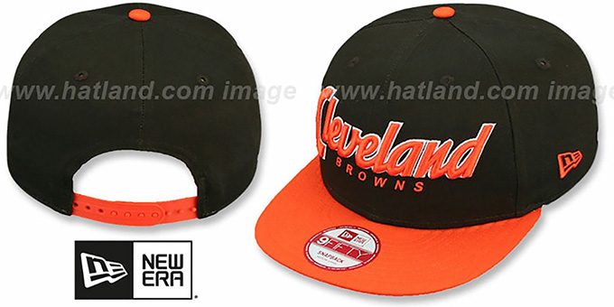 Browns 'SNAP-IT-BACK SNAPBACK' Brown-Orange Hat by New Era : pictured without stickers that these products are shipped with