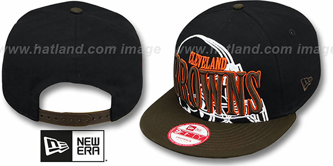 Browns 'THROUGH SNAPBACK' Black-Brown Hat by New Era : pictured without stickers that these products are shipped with